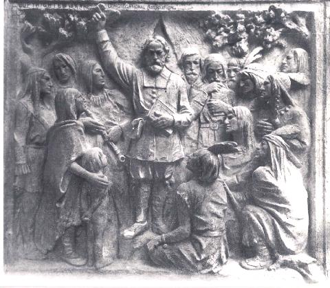 Eliot and Indians memorial panel on Congregational Assoc. Building, 14 Beacon St., Boston, MA (courtesy Jan Prescott)