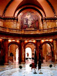 Click for detail - John Eliot Preaching to the Indians in Main Rotunda, State House, Boston, MA (photo by A.R.Miller)