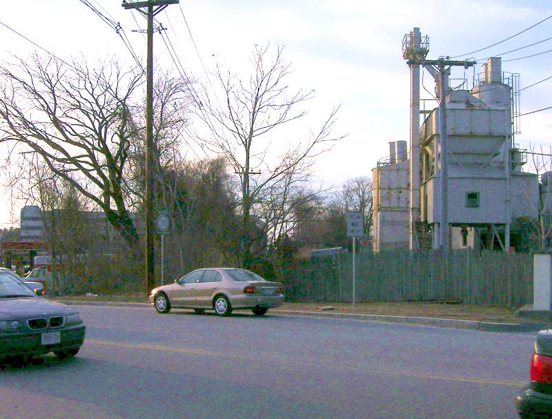 040426Rte30CementPlant More urban blight at Route 30, on the Framingham-Natick town line. This cement plant encroaches on the CRT right-of-way; it was moved partway back a few years before.