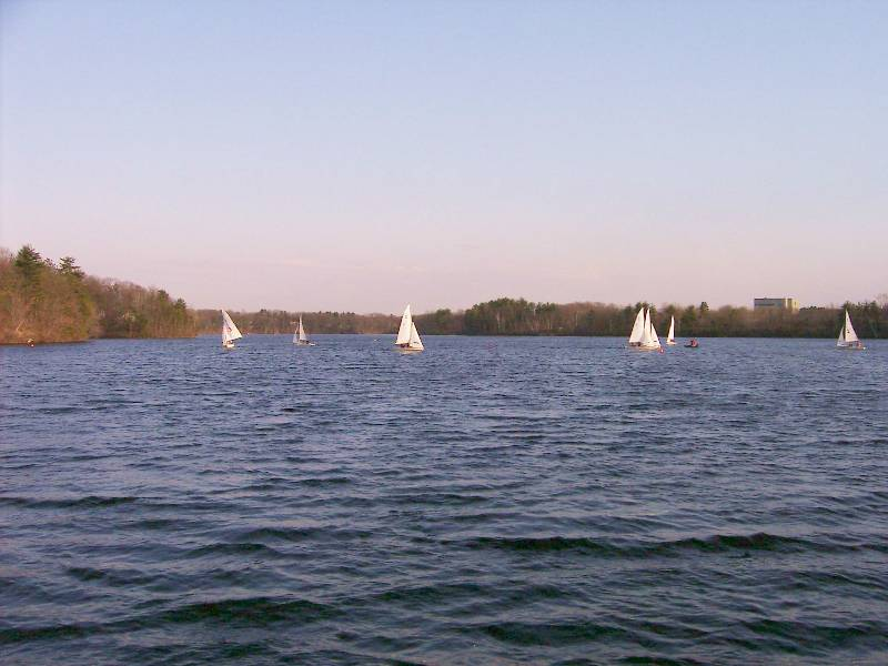 040426Sailboats1 High-school sailboat racing is also popular on Lake Cochituate.
